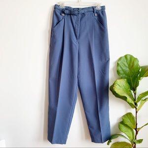 Vintage Blue High Waisted Pants Belted Size 8